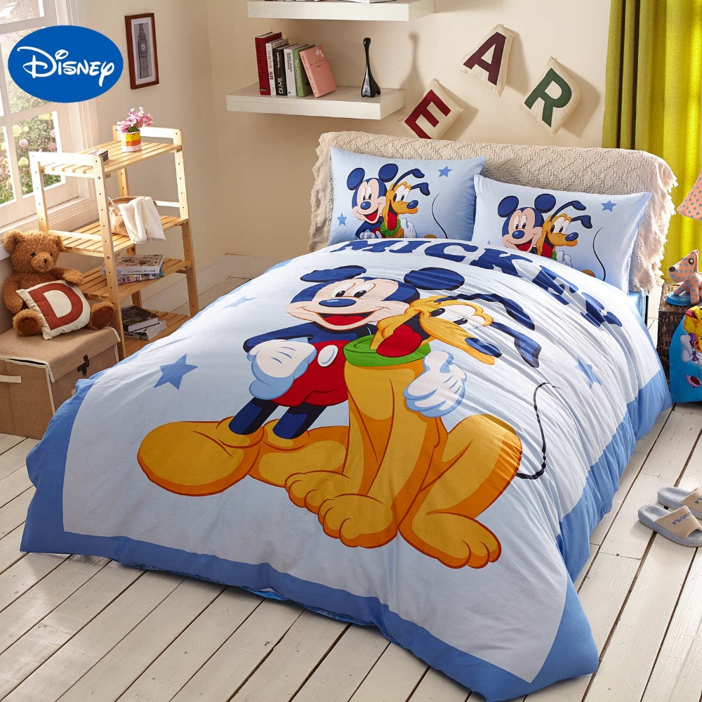 Blue Disney Cartoon Mickey Mouse Goofy Bedding Sets for Childrens Bedroom Decor Cotton Bed sheets Single Full Queen King Size