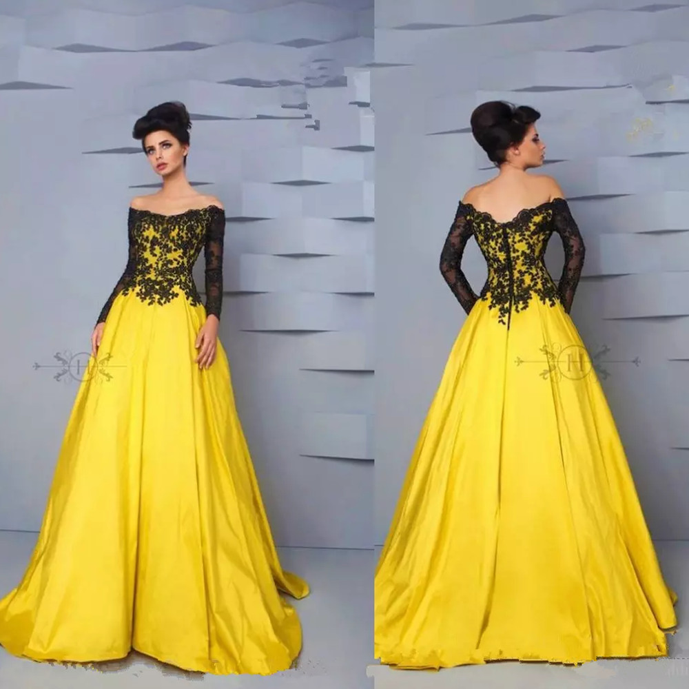 Black dress yellow sash - Elegant Long Sleeve Yellow And Black Satin Lace Off The Shoulder Prom Dresses 2017 Pageant Gowns