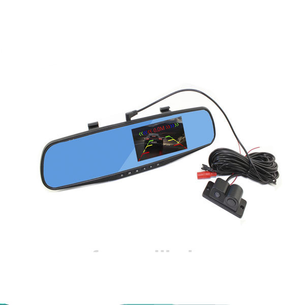 2017 parking camera with mirror monitor dvr 4.3 vechile rearview mirror DVR + parking camera reversing back up sytem HD
