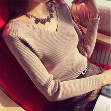 shintimes Wave V-Neck Women Sweater Slim Casual Knitted High Elastic Solid 2019 Autumn Winter Fashion Pullovers