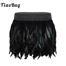 TiaoBug Fashion Gothic Mid-Waist A-Line Mini Sexy Women Feather Skirt Female Halloween Party Club Carnival Rave Festival Costume(China)