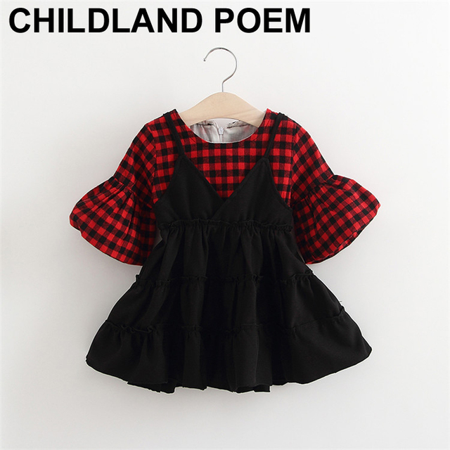 2017 Summer newborn baby girl 1 year birthday dress plaid warm princess party baby girl clothes Toddler Baby Dress For Girls