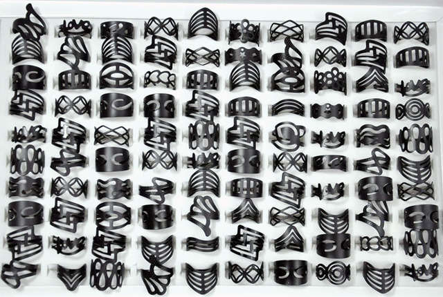 24a403e7f 300Pcs Vintage Matte Black Alloy Ring Gypsy Adjustable Finger Tattoo Rings  Lots For Women Men Mix Style Jewelry Wholesale LR4040
