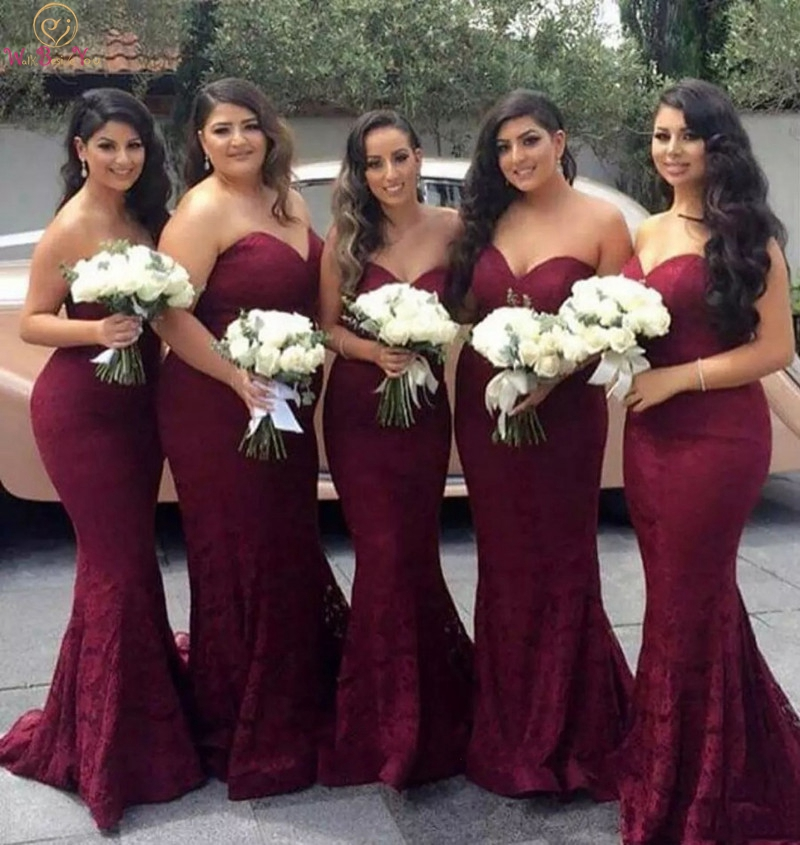 Burgundy Bridesmaid Dresses 2019 New Sexy Lace Backless Long Boho Sweetheart Neck Formal Wedding Party Dress Prom Party Gowns