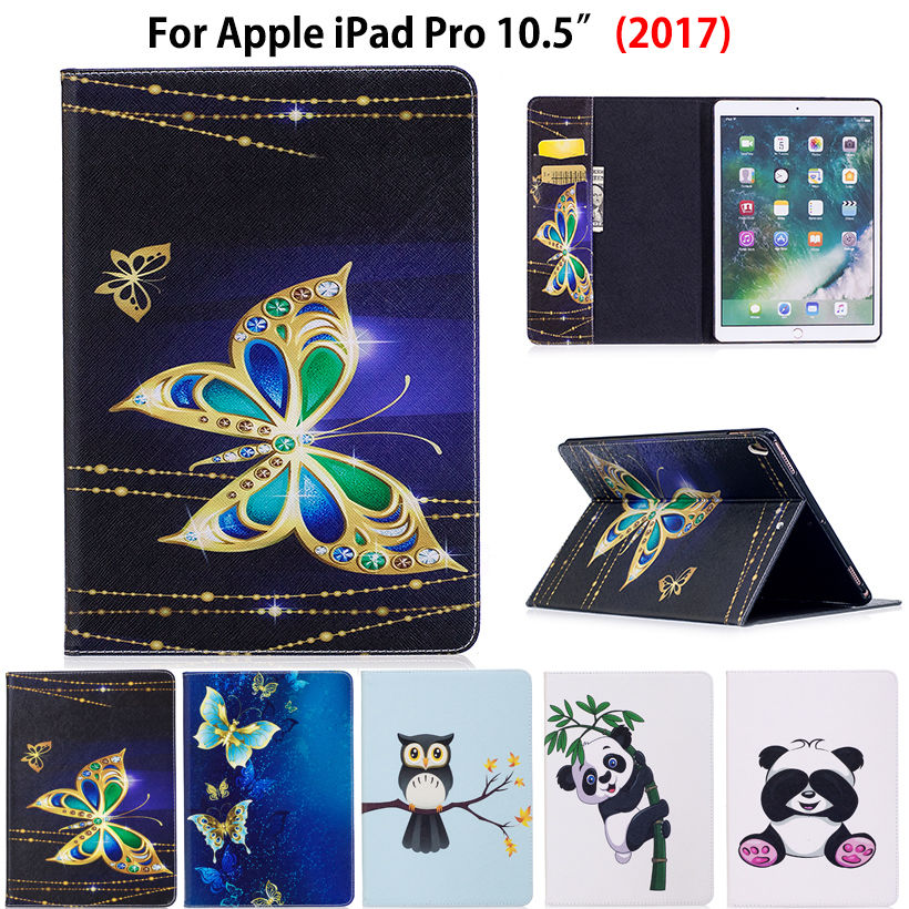 Fashion Panda Owl Pattern Case For Apple iPad Pro 10.5'' 2017 A1701 Case Smart Cover Funda Tablet Silicon PU Leather Stand Shell for apple ipad air 2 pu leather case luxury silk pattern stand smart cover
