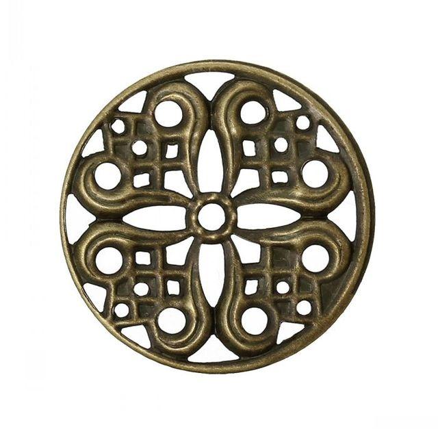 "8SEASONS Embellishment Findings Round Antique Bronze Hollow Flower Pattern 24mm(1"") Dia,100PCs"
