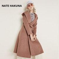 Nate Hakuna 2018 Casual Autumn Winter Women Hooded 100% Wool Coat Double Breasted Handmade Belt Women Pockets Long Woolen Coat