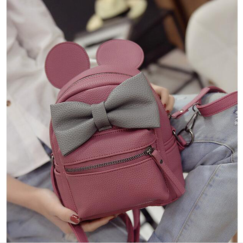 62b0460ac65c 2016 New Year s New Cute Butterfly Knot grils Backpack Mini Big Ears Single Women  Backpacks B-100