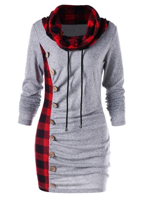 Wipalo Bottons Plaid Trim Drawstring Tunic Sweatshirt Dress Female Casual Sheath Cowl Neck Long Sleeve Dress Winter Fall Vestido