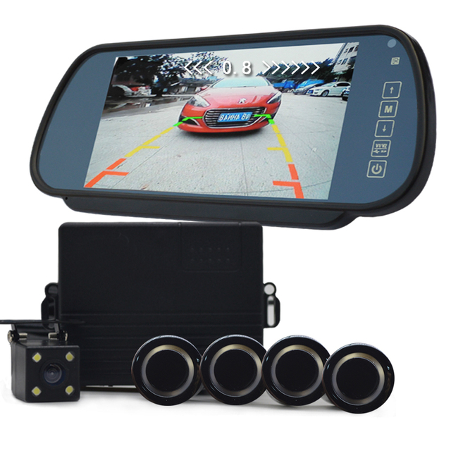 7 inch car monitor video parking Sensors system reverse backup assistance car HD visual reversing radar all-in-one system