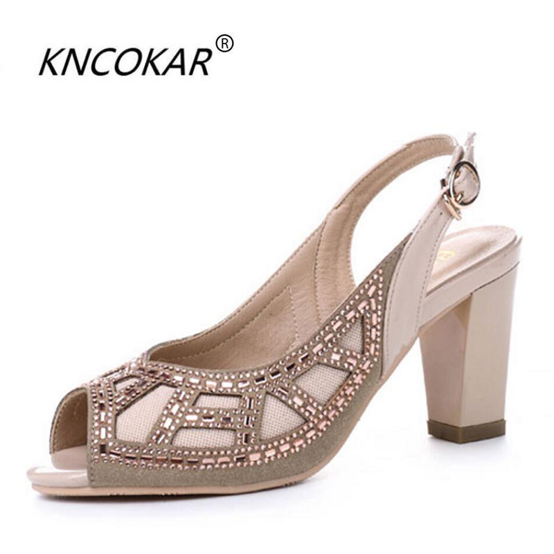 KNCOKAR2018The new real leather baiting fish mouth with the chunky sandals womens summer fashion water drill ladies wedding shKNCOKAR2018The new real leather baiting fish mouth with the chunky sandals womens summer fashion water drill ladies wedding sh