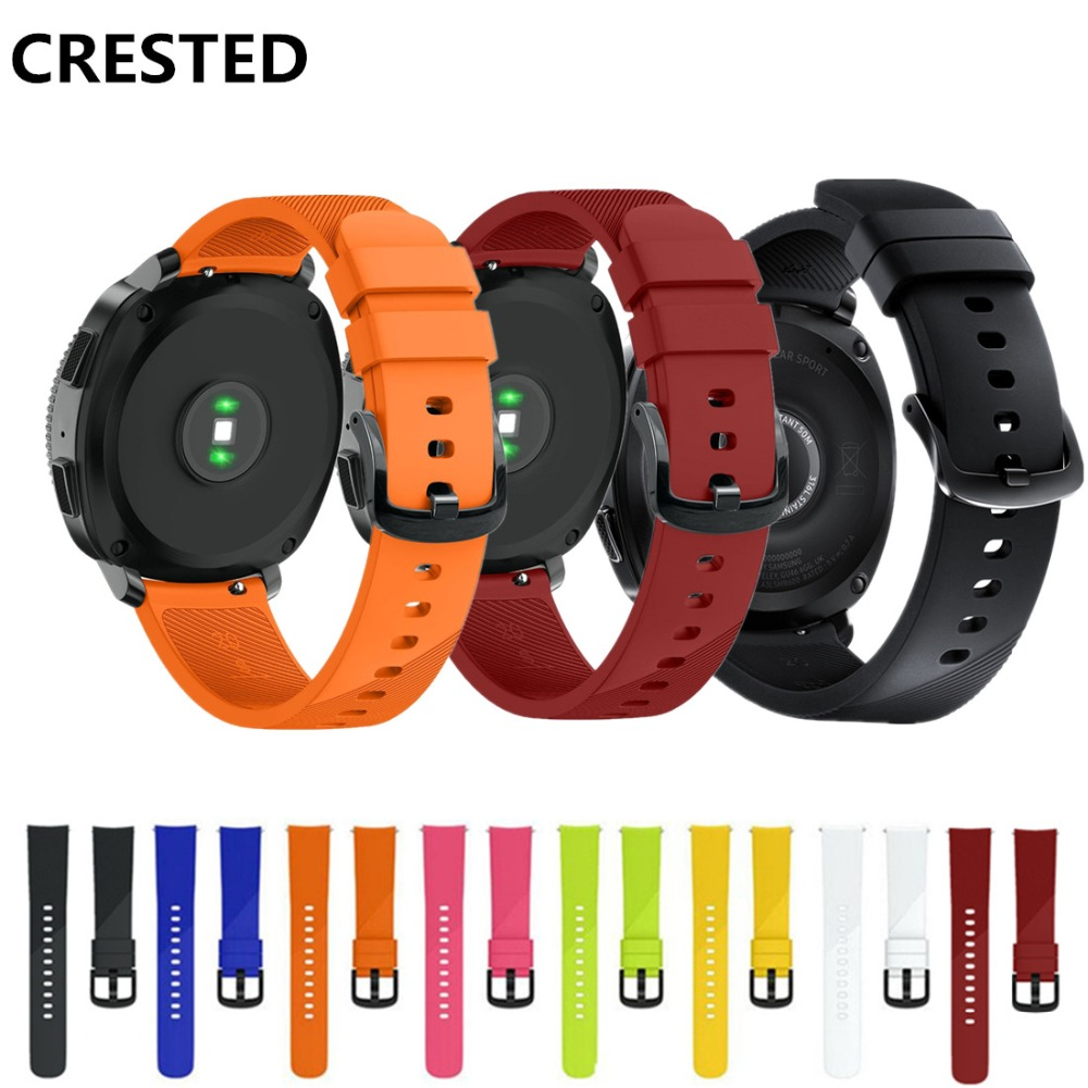 CRESTED 20mm Silicone band for Samsung gear S2 classic/sport strap Samsung gear strap wrist band bracelet smart watch band crested sport silicone strap for samsung gear s3 replacement bracelet rubber band for samsung gear s3 watch band