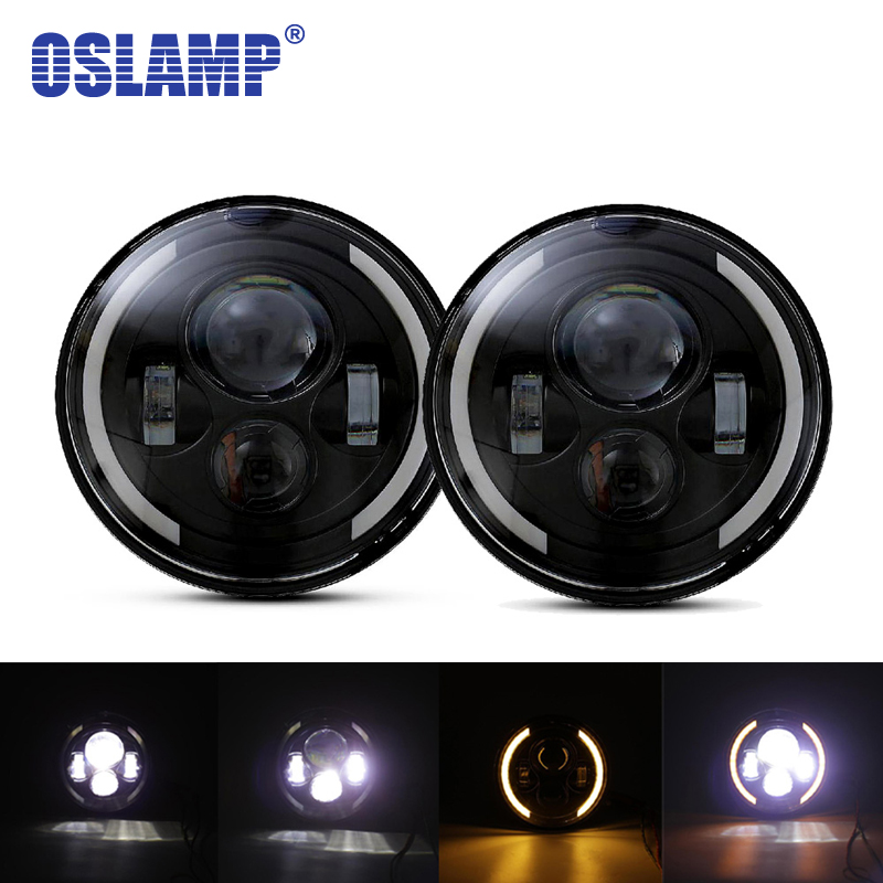 Oslamp 7 дюймов светодио дный фар лампы 2 шт. H4/H13 High-Low луч круглый огни с желтый/белый halo для Jeep CJ TJ JK/Land Rover/Hummer