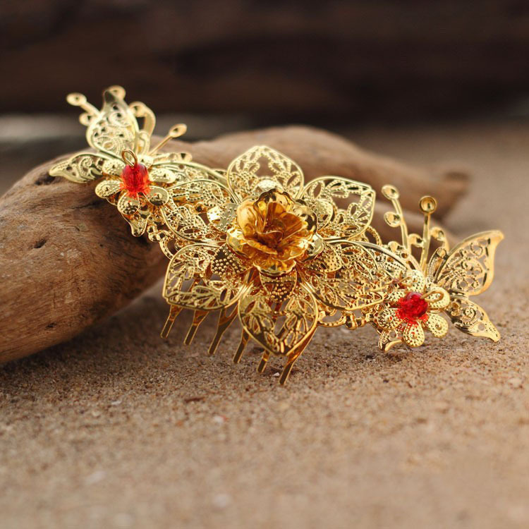 Wedding Vintage Style Hair Accessories: Vintage Gold Chinese Traditional Style Bridal Hair Comb