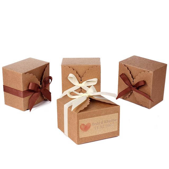 48pcs Personalized Brown Kraft Paper Cookie Box Bags Candy Biscuit Packaging Wedding Gift Bo