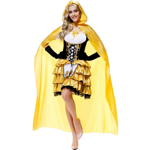 Goldilocks fairy tale costume dress Cloak containing Halloween cosplay party prom queen costume Gloves + Cloak