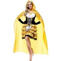 Goldilocks fairy tale costume dress Mantello contenente cosplay del partito di Halloween prom queen costume Guanti + Mantello