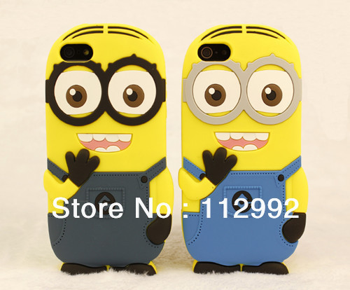 2013 New Design Despicable Me2 Case Yellow Minions Cover Case Silicone Cell Phone Case for Iphone 4 4s 5 Free Shipping 2pcs/lot