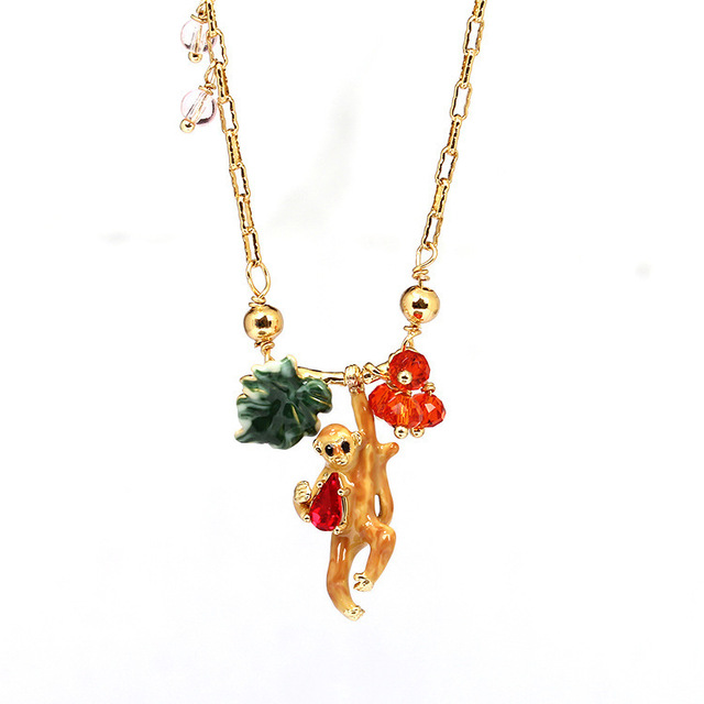 Enamel Glaze Small Monkey Necklace Gold-plated Defence Allergy No Fade Ornaments European Wind New Arrivals Major Suit Pendant