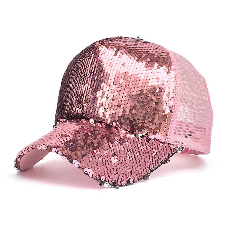 33b8f707c9d Unisex Men Women Fashion Adjustable Trendy Breathable Mesh Sequined Shiny Baseball  Caps Summer Sun Glitter Bun