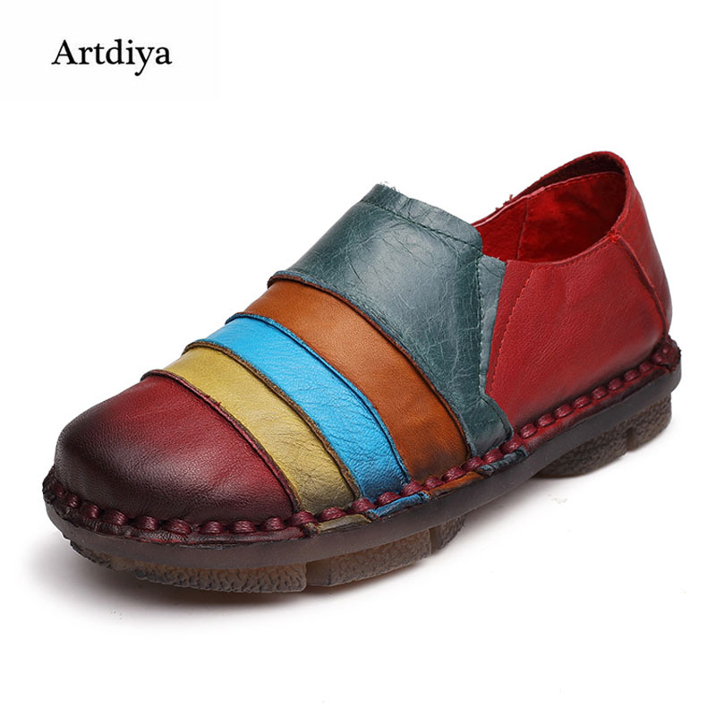 Artdiya 2018 New Leather Women Shoes Fashion Original Design National Soft and Comfortable Flat Vintage Shoes 5931 2016 spring and summer free shipping red new fashion design shoes african women print rt 3