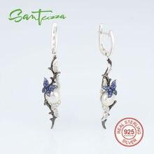 Silver Pearl Earrings for Women Fresh Water Pearl Earrings Blue White CZ Stone Drop Earrings Pure 925 Sterling Silver Jewelry