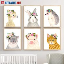Cute Rabbit Pig Deer Hedgehog Hippo Flowers Nordic Posters And Prints Wall Art Canvas Painting Pictures For Kids Room Decor