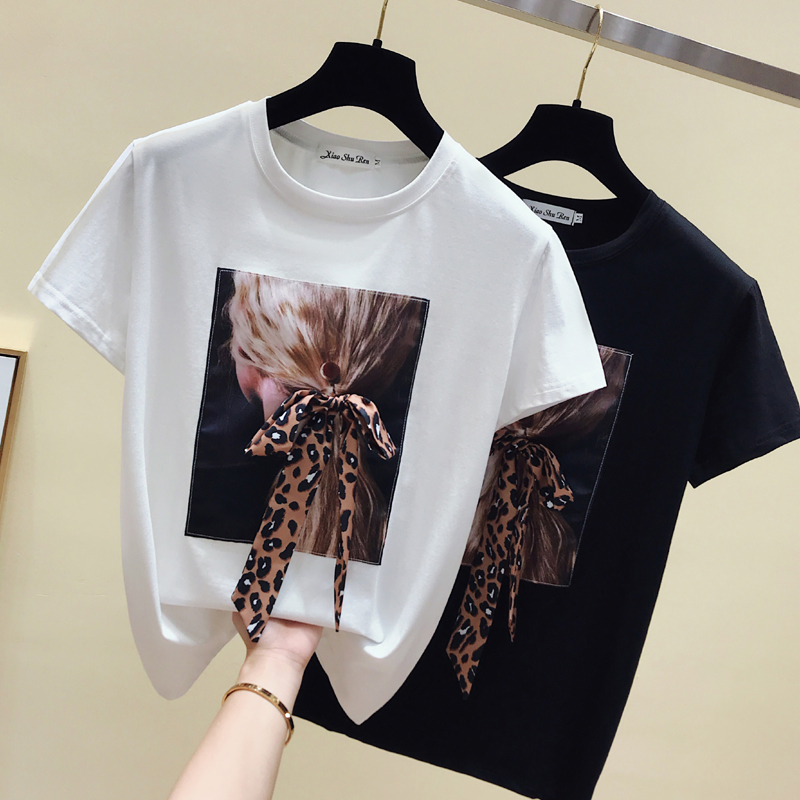 Gkfnmt Korea White T Shirt Women Clothes O-Neck Summer Short Sleeve Appliques Vintage TShirt Tops Casual Black Tee Shirt Femme