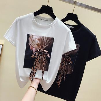gkfnmt Korea White T shirt Women Clothes O-Neck Summer Short Sleeve Appliques Vintage TShirt Tops Casual Black Tee Shirt Femme