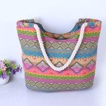 Casual Summer Beach Women Bag Lunch bag Hot Sale Fashion High Quality Canvas Striped Handbags Shoulder Bag