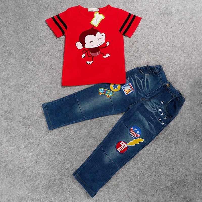 3ec0d17310 2018 Novo conjunto de roupas de bebê menino roupas de Verão calças de Brim  calças compridas + algodão de manga curta t-shirt set Crianças Suit 2 pcs  ...