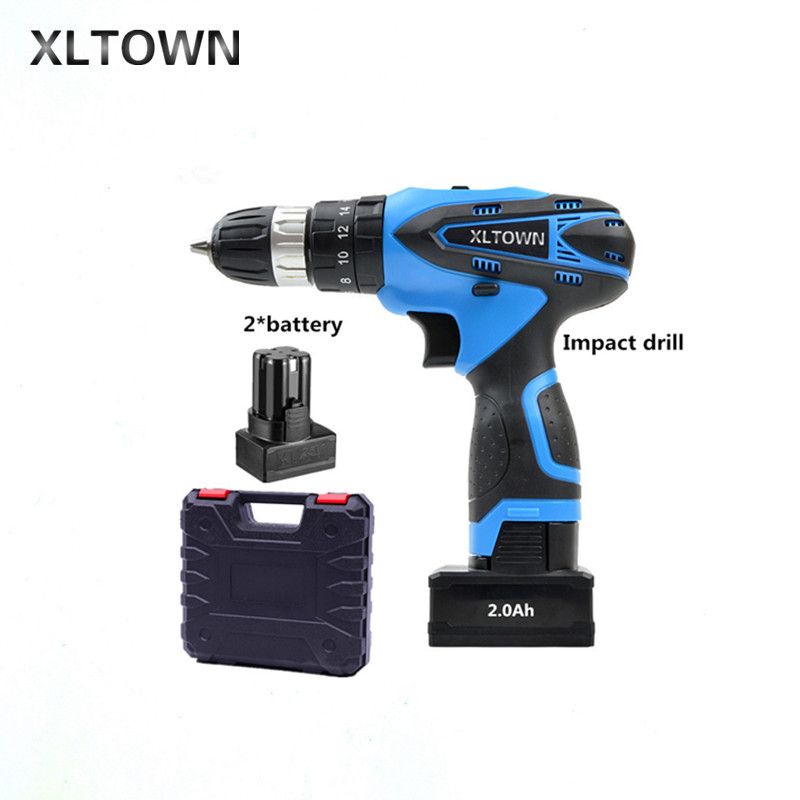 XLTOWN 25V 2000mA Impact Drill Rechargeable Lithium Battery Electric Screwdriver Cordless Electric Drill Power tools аксессуар чехол для samsung galaxy j6 2018 j600f zibelino soft matte turquoise zsm sam j600f tqs