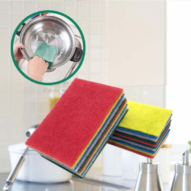 10 Pcs / Set Color Highly Efficient Scouring Pads Dishes Cloth Cleaning Wipers Kitchen Rags Strong Decontamination Dishes Towels(China)