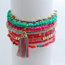 MUHONG Bohemian Fashion Multilayer Beads Tassel Bracelets & Bangles Elastic Charm Bracelet Jewelry For Women Pulseras Mujer