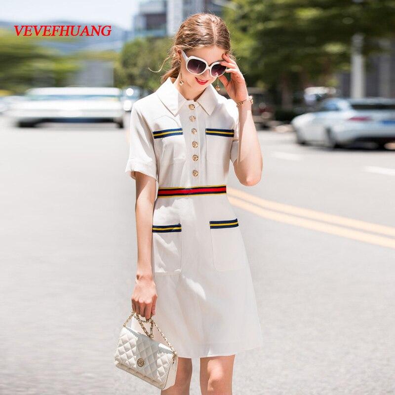 VEVEFHUANG High Quality 2018 Summer Dress Short Sleeves Black White Office Lady Turn-down Collar Women's Dress Vestidos De Festa