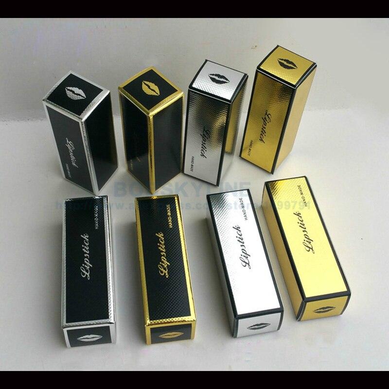 100pcs 25x25x78mm Black Silver Line Embossed Paper Box