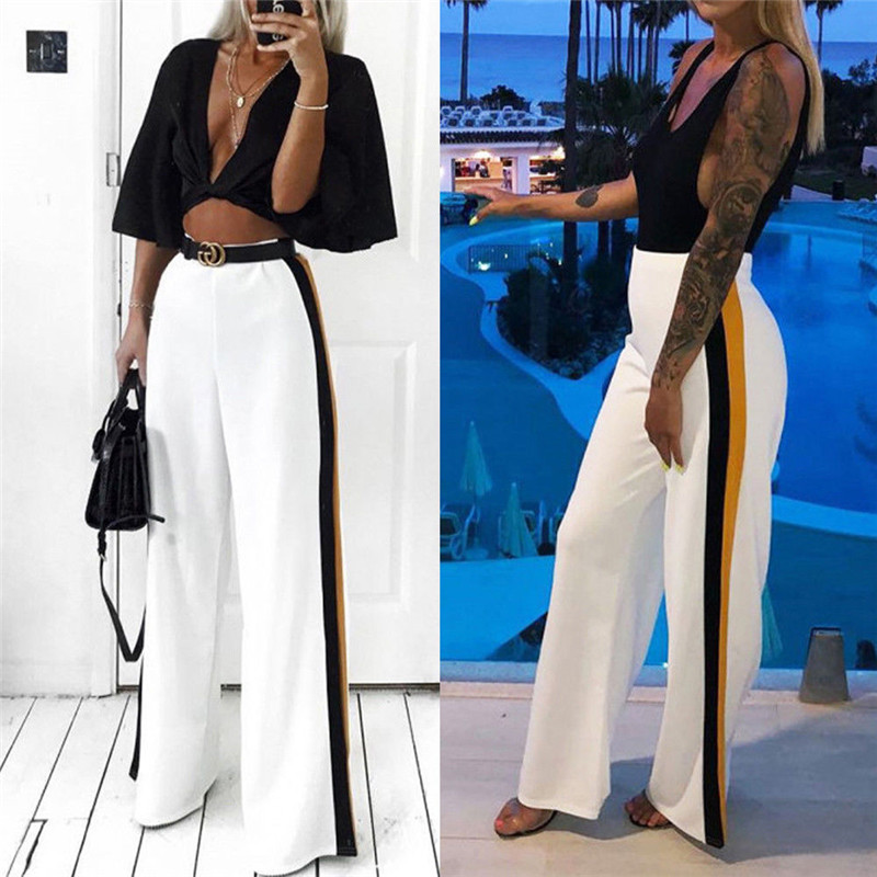 New Summer Womens Girls Casual   Pants   Loose Athletic Stretch Casual Comfy High Waist Bandage Striped Wide Leg Long   Pants   Trousers