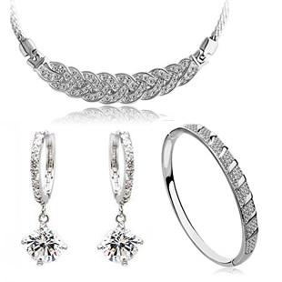 Christmas gift 18K white gold plated austrian crystal women