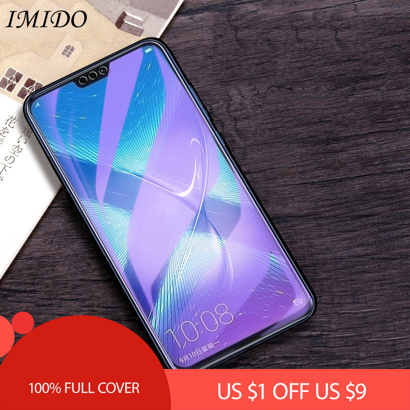 IMIDO Full Coverage Anti-blue Purple Light 2.5D Tempered Glass For Huawei Honor 8X Max Screen Protector Protective Film For 8A