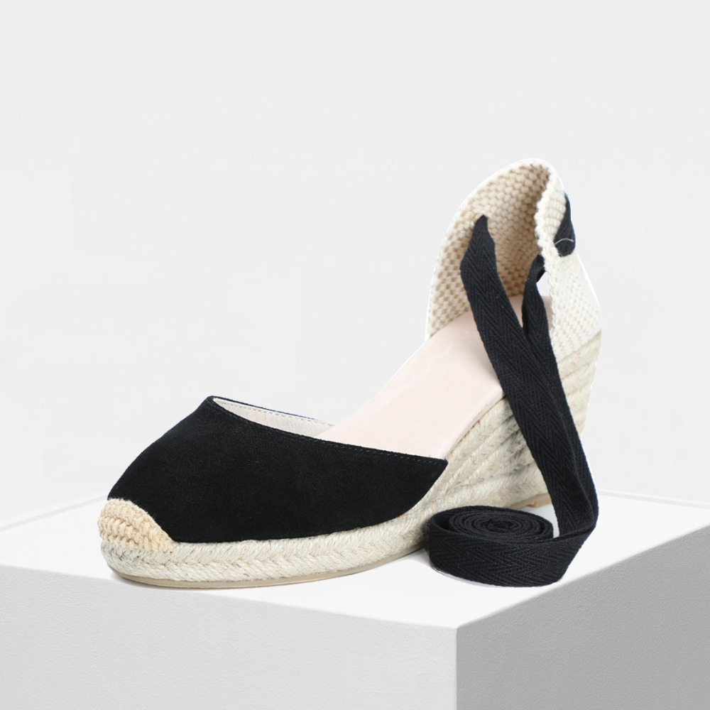 2019 spring women 70mm wedge espadrilles genuine leather spring summer D Orsay black and sand color