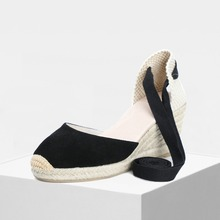 2019 spring women 70mm wedge espadrilles, genuine leather summer DOrsay black and sand color