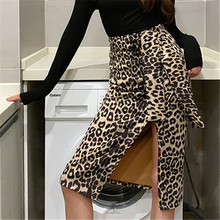 2019 New Women Sexy Long Skirt Ins Hong Kong Retro Cross Leopard High Waist Pencil