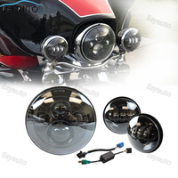 Motorcycle 7 Inch Black Round Daymaker LED Headlight 4 5 Inch Fog Light Passing Lamps For