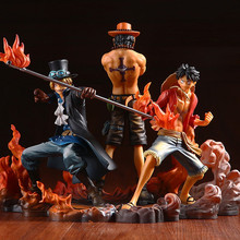 Huong Hot Anime One Piece 14-17cm 3pcs/set Luffy & Ace & Sabo PVC Action Figure Toys Dolls Brinquedos Models With Retail Box.