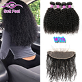 8A Indian Kinky Curly Virgin Hair 3/4 Bundles With Closure Lace Frontal Closure With Bundles Curly Weave Human Hair With Frontal