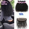 8A Indiano Kinky Curly Virgem Cabelo 3/4 Pacotes Com Fecho Lace Frontal Encerramento Com Bundles Curly Weave Do Cabelo Humano Com Frontal