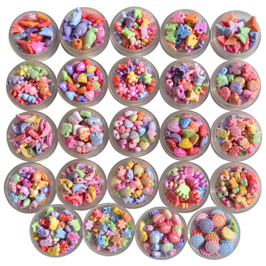 Cartoon Animals Shape Acrylic Beads Handmade Bracelet Charms Antique Spacer Findings Jewelry Accessories Handcraft Making 100pcs