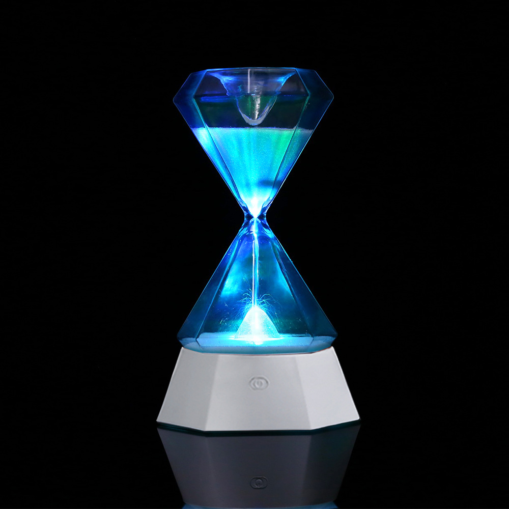 Home decoration clock hourglass induction led night light long life colorful time manager table lamp for fall asleep gifts free shipping remote control colorful modern minimalist led pyramid light of decoration led night lamp for christmas gifts