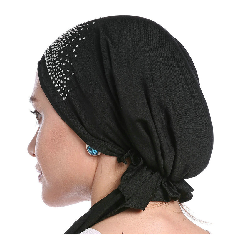 2019 Fashion Muslim Headscarf Hat Thin Summer Women Inner Hijab Bonnet Solid Diamond Turban Caps India Head Wrap Hats For Lady