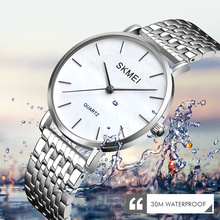 цены на SKMEI Women Fashion Stainless Strap Analog Quartz Wrist Watch Luxury Simple Style Designed Bracelet Watches Women Clock 1365  в интернет-магазинах
